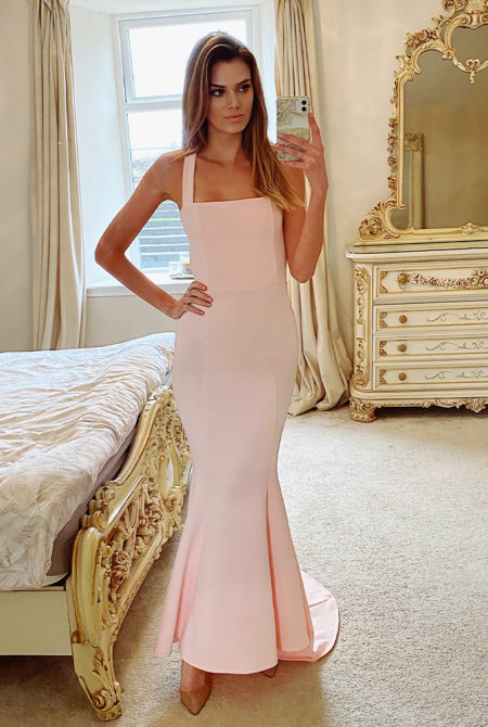 Ava Cross Back Fishtail Maxi Dress In Blush Pink