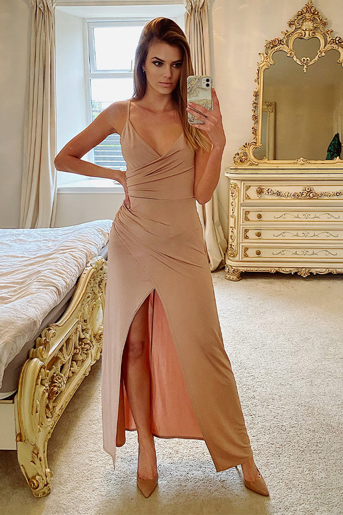 Lucy Nude Maxi Wrap Dress
