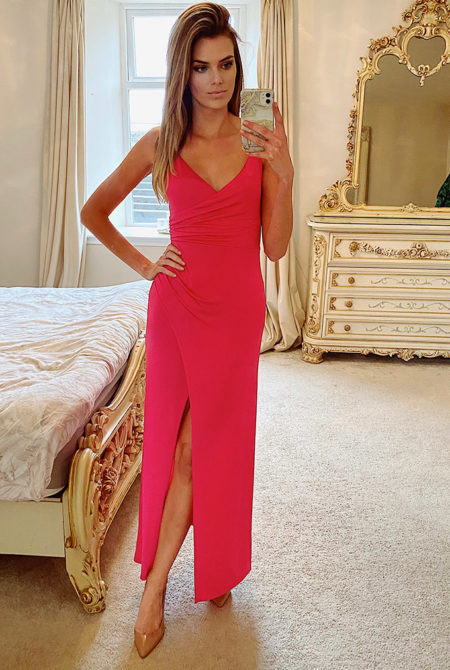 Lucy Hot Pink Cami Wrap Maxi