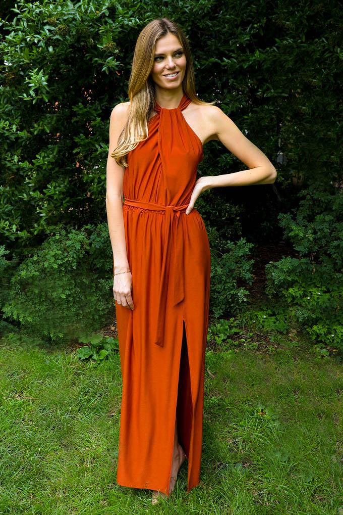 Lila Twist Maxi Dress In Burnt Orange