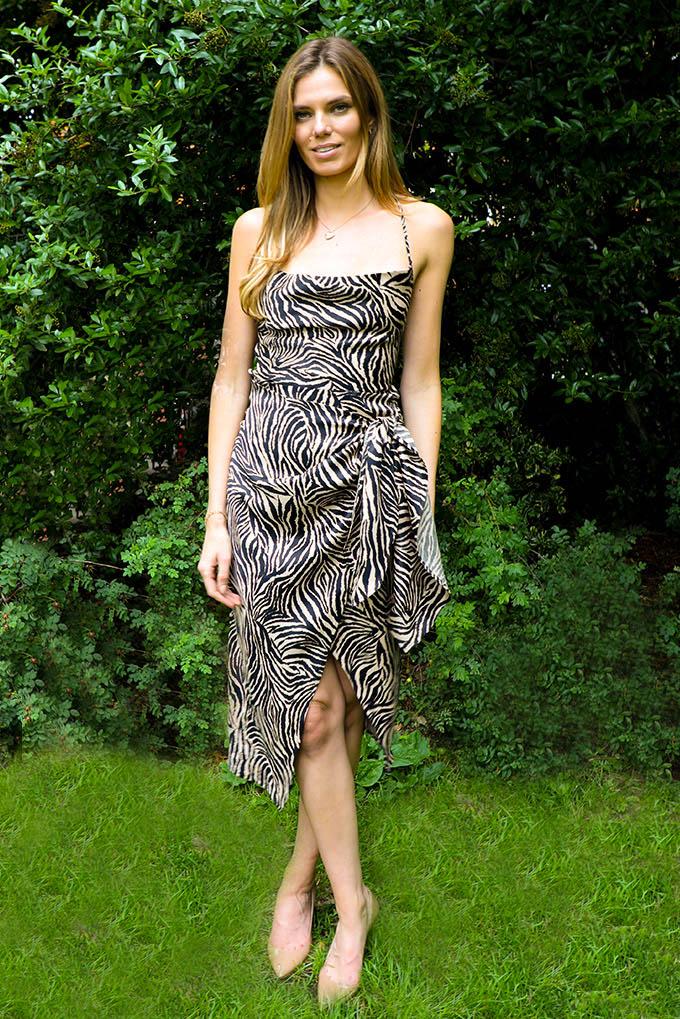 Ellie Cowl wrap midi dress in zebra print with open strappy back