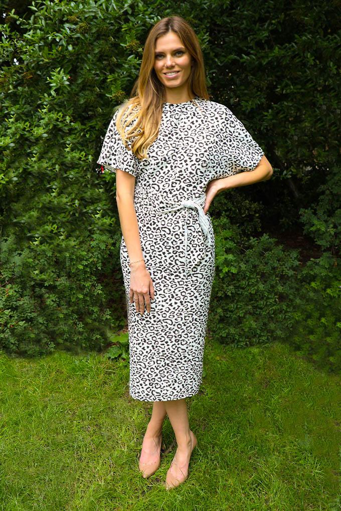 Niki kimono sleeve midi dress in animal print plisse