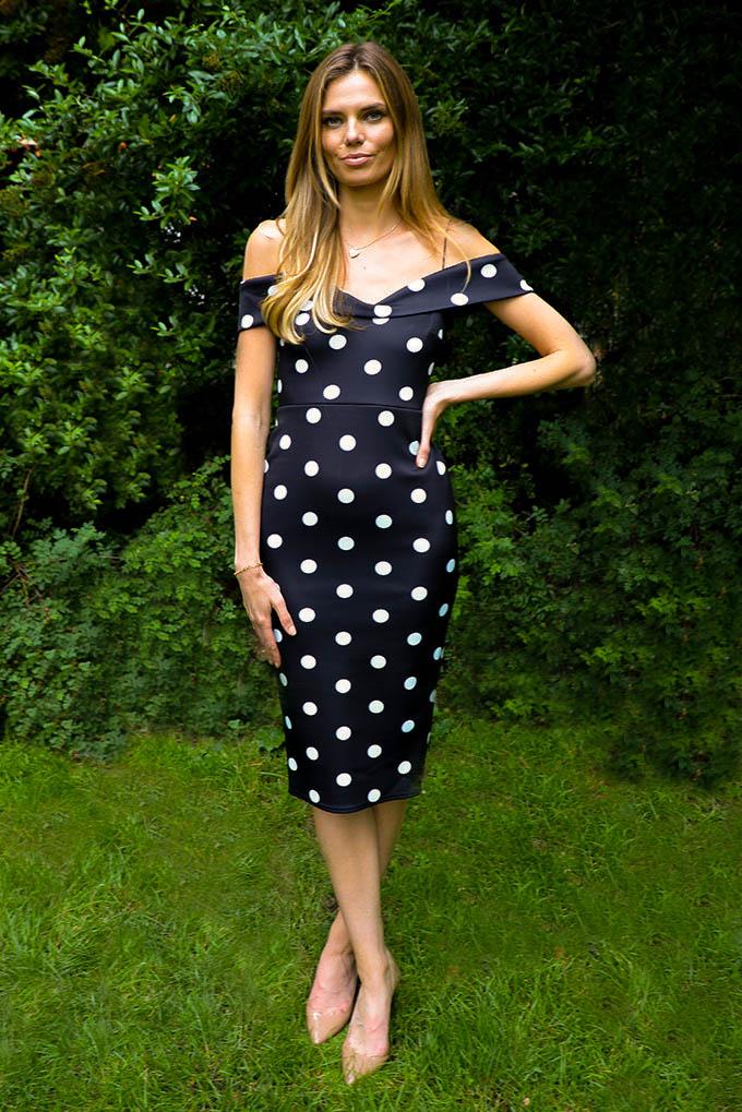 Lottie Dot Midi Bodycon Dress In Black