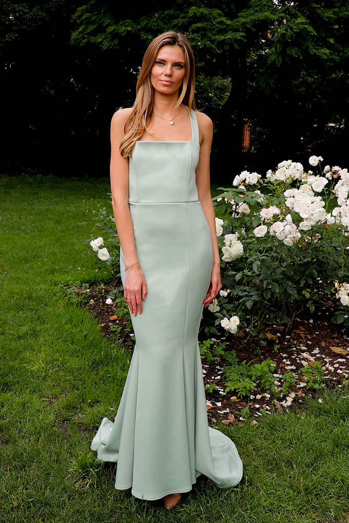 Ava Fishtail Maxi Dress With Cross Open Back In Sage Green