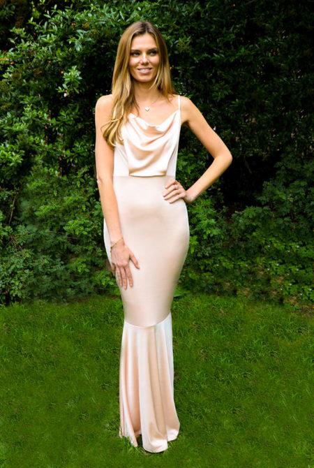 Leona Cowl Neck Slinky Fishtail Maxi Dress In Champagne