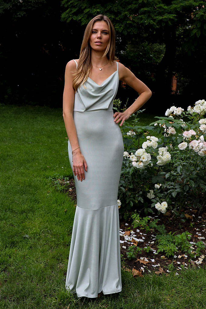 Leona Cowl Neck Maxi Dress In Sage Green