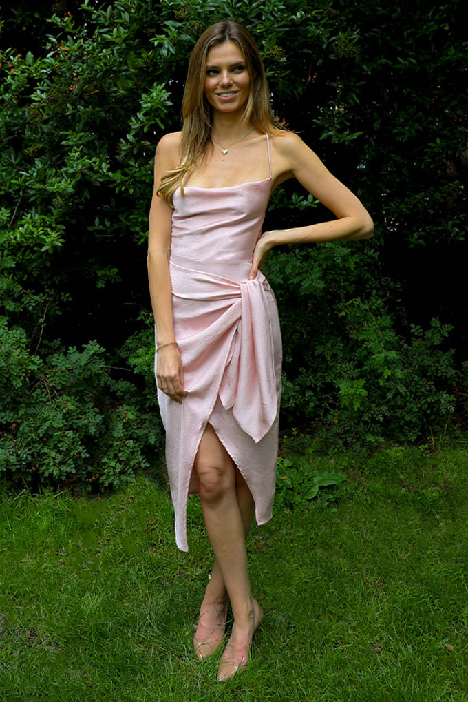 Ellie Cowl wrap midi dress in baby pink with open strappy back