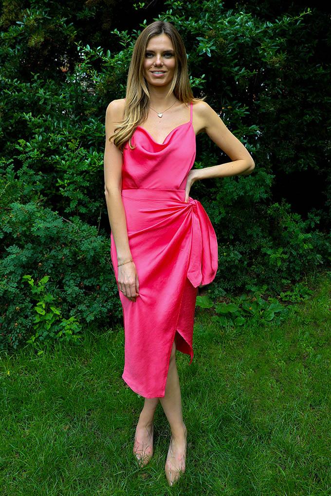 Kelly cowl neck slip midi dress in hot pink